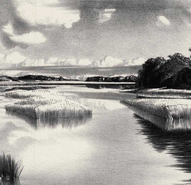 Lonely River. - American Realist Print by Stow Wengenroth