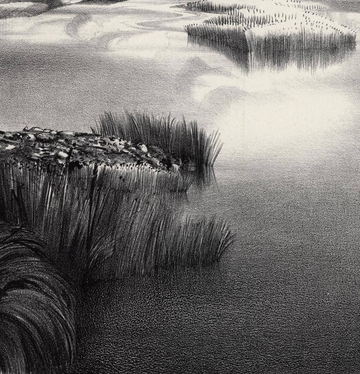 Lonely River. - Gray Landscape Print by Stow Wengenroth