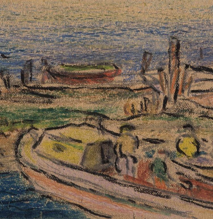 The location of this early oil pastel drawing was identified by other pieces from the same drawing book.  The oil pastel was a new invention - just on the market in 1921 and it appears that Beal enjoyed working with the medium.  This piece is a