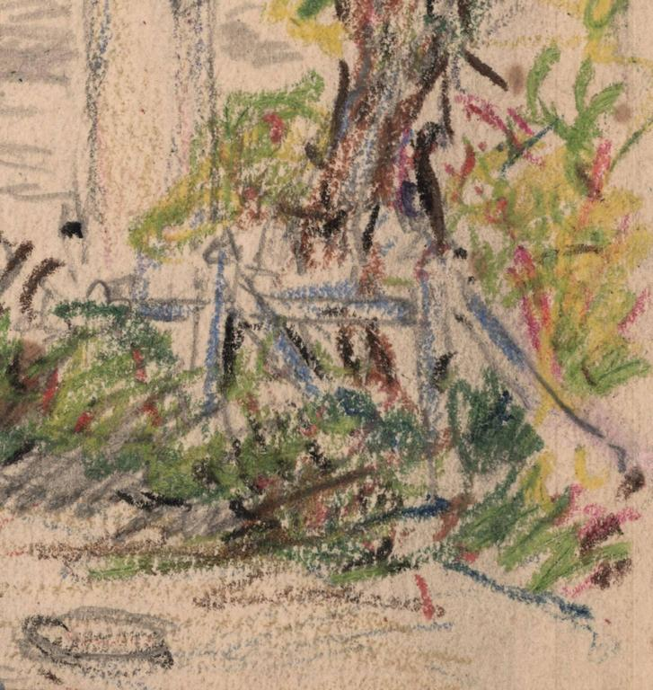 This pencil and oil pastel drawing was made in 1921.  On the verso is written