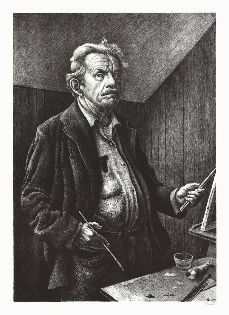 Thomas Hart Benton Portrait Print - Self-Portrait.