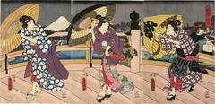 Japanese Beauties with Umbrellas on Bridge
