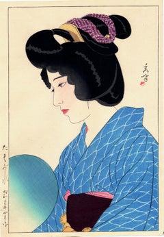 "Thoughtful Japanese Beauty in Blue Kimono: ""Twilight"""