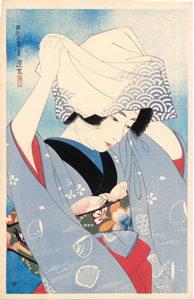 Ito Shinsui Figurative Print - Beauty Covering Her Hair (Gathering Shellfish: Shiohigari)