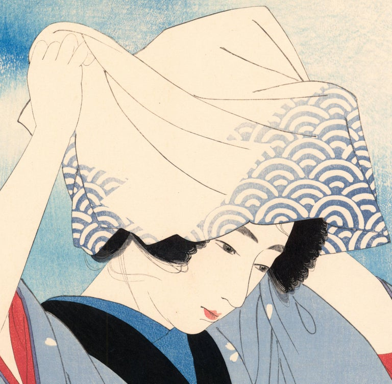 Beauty Covering Her Hair (Gathering Shellfish: Shiohigari) - Print by Ito Shinsui