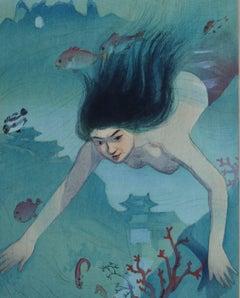 Beauty Diving Underwater