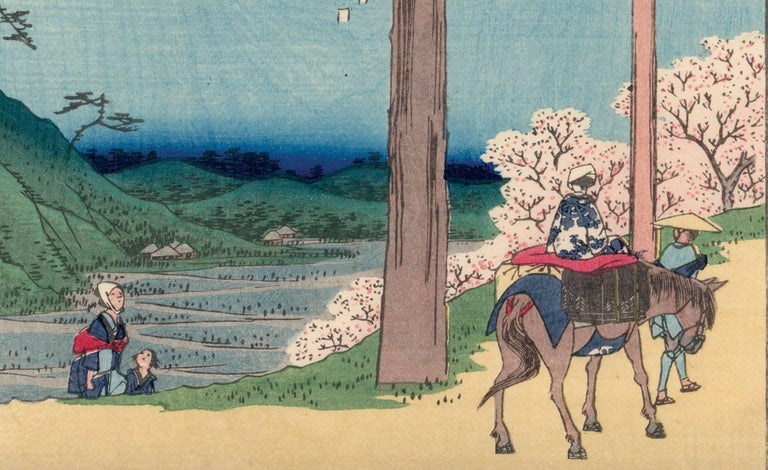 View of Mount Fuji with Cherry Blossoms - Edo Print by Utagawa Hiroshige (Ando Hiroshige)