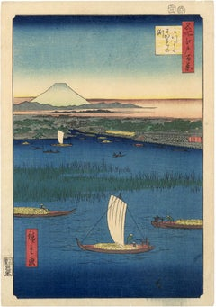 Mitsumata Wakarenofuchi; Mount Fuji and Sailboats