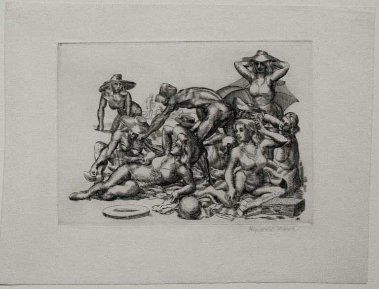 Beach Picnic. - Gray Figurative Print by Reginald Marsh