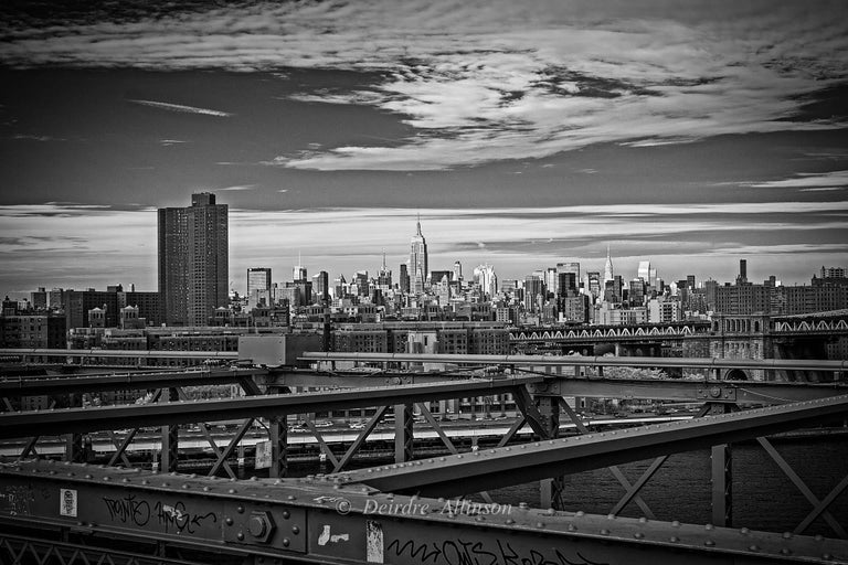 Deirdre Allinson Black and White Photograph - Sky over Manhattan: a View from the Brooklyn Bridge