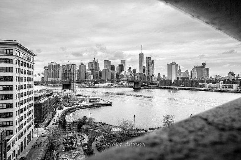 Deirdre Allinson Black and White Photograph - Through the Bridge, A view of Manhattan and Brooklyn through the Manhattan Bridg