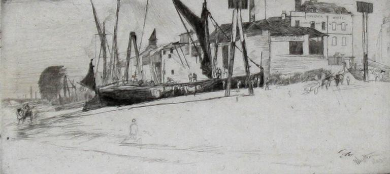 Chelsea Wharf. 1863. Etching and drypoint. Kennedy 89; Glasgow 97.ii. 3 9/16 x 7 1/2 (sheet 8 3/16 x 12 1/8). Glasgow lists 12 other known impressions. A rich impression with drypoint burr and selective plate tone, printed on Japanese mulberry paper