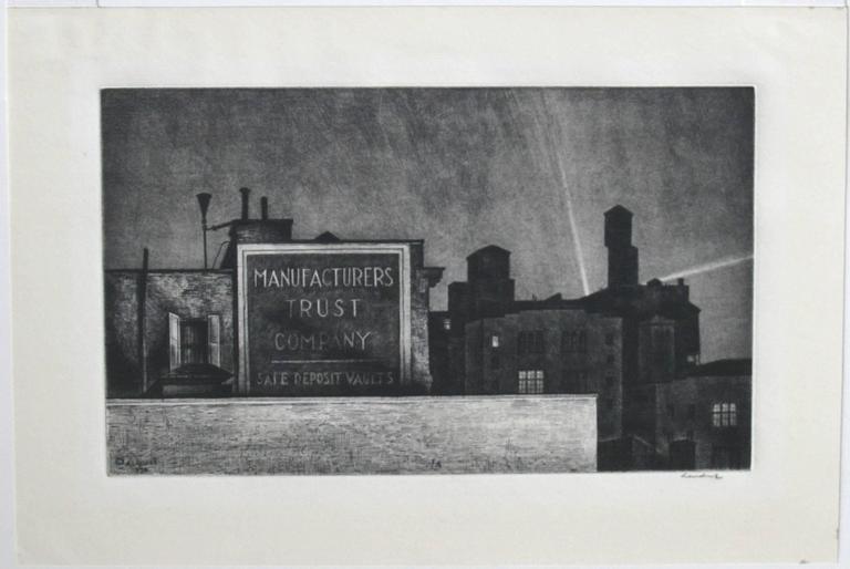 Manhattan Nocturne - Print by Armin Landeck