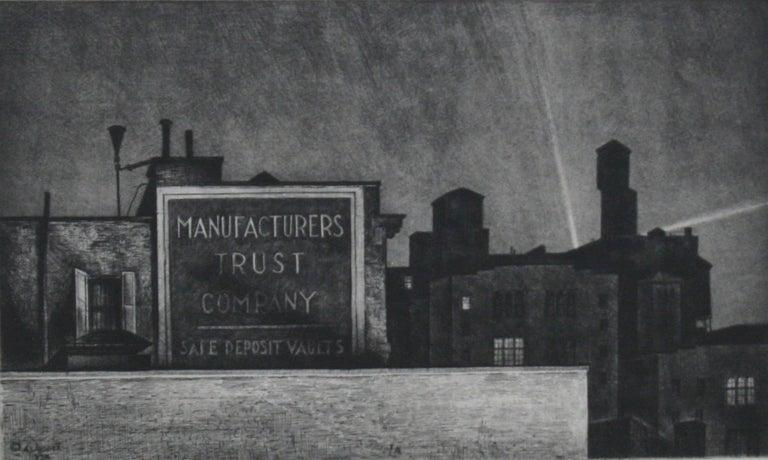 Armin Landeck Landscape Print - Manhattan Nocturne
