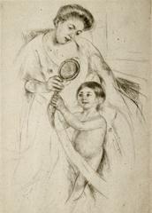 Mary Cassatt - Looking into the Hand Mirror, No.3.