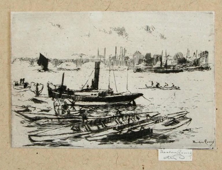 The Steam Launch, Chelsea Embankment. - Print by Theodore Casimir Roussel