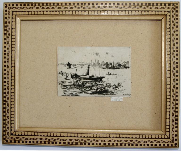 Theodore Casimir Roussel Landscape Print - The Steam Launch, Chelsea Embankment.