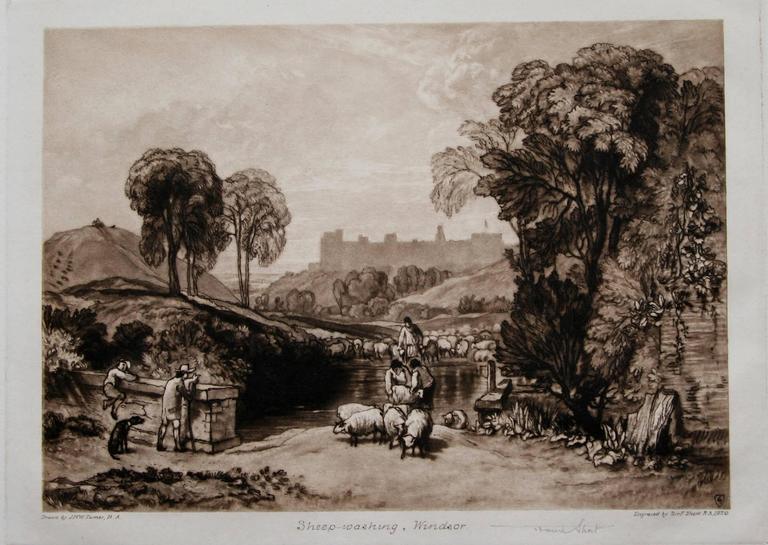 Sheep Washing, Windsor (Windsor Castle from Salt Hill) - Print by Sir Frank Short