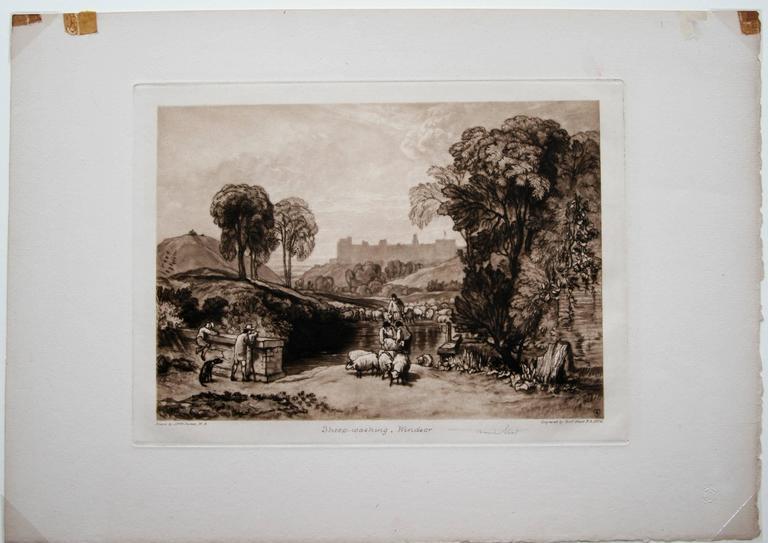 Sheep Washing, Windsor (Windsor Castle from Salt Hill) - Brown Landscape Print by Sir Frank Short