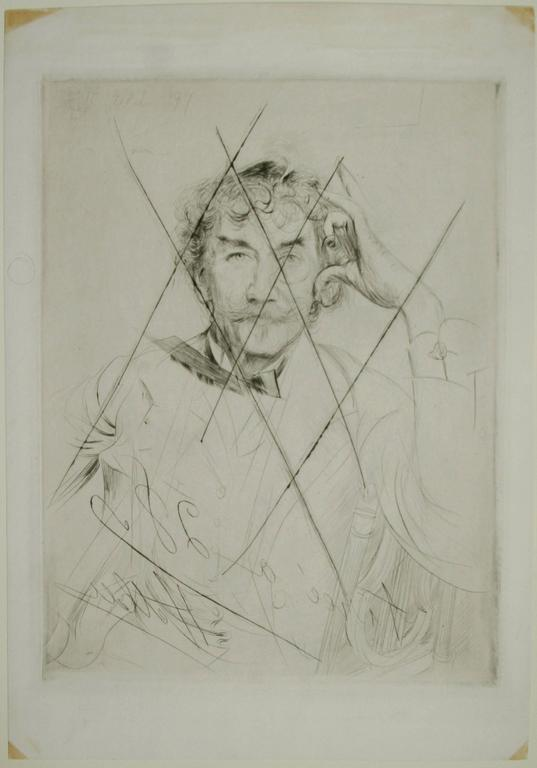Portrait of Whistler with the Monacle. - Print by Paul César Helleu