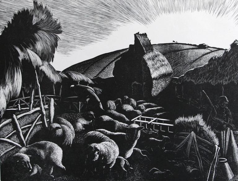 Clare Leighton Landscape Print - Lambing: January