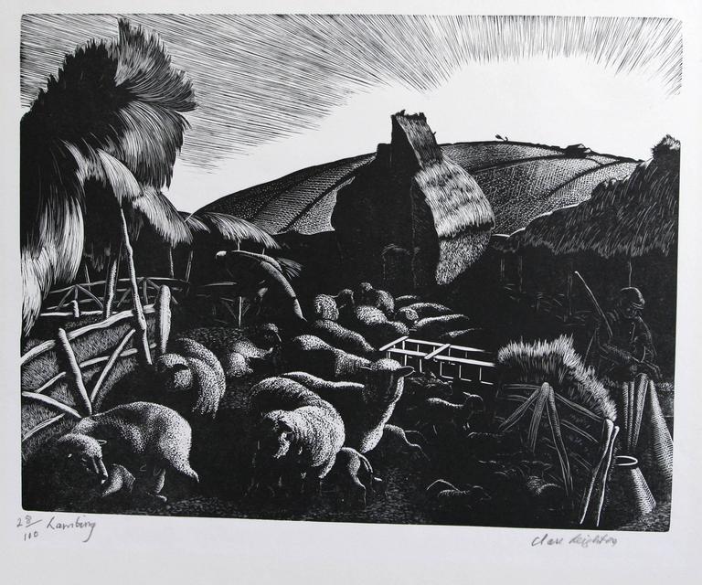 Lambing: January - Modern Print by Clare Leighton