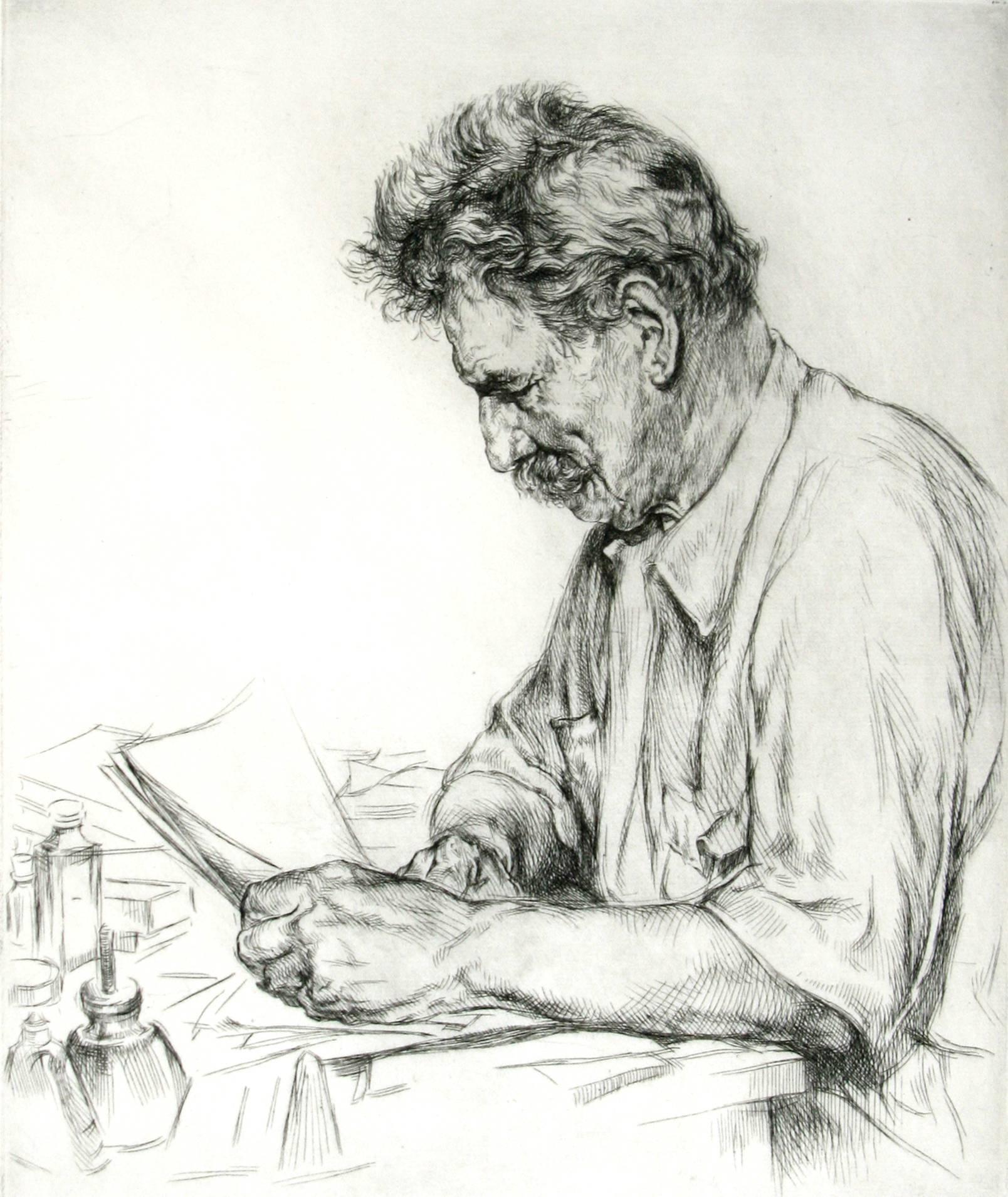 Portrait of Albert Schweitzer.
