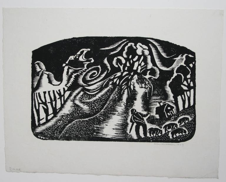 Dune - Abstract Geometric Print by Helen West Heller. American.