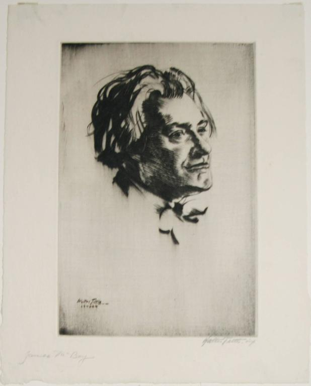 Portrait of James McBey. - Brown Figurative Print by Walter Tittle