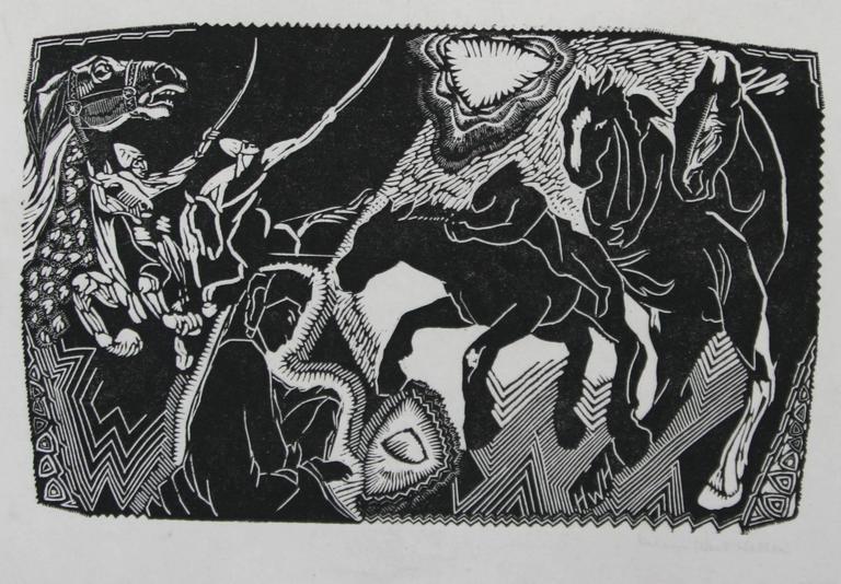 Hooves - American Modern Print by Helen West Heller. American.