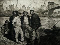 Dock Workers under the Brooklyn Bridge