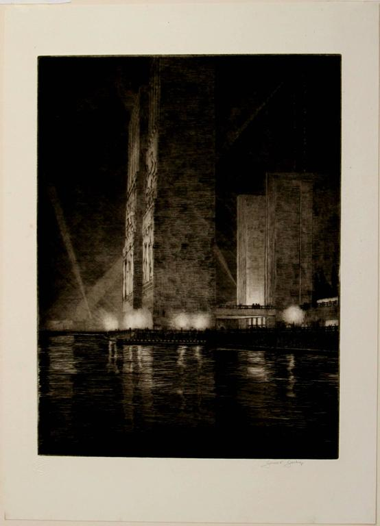 Grand Canal, America (Electrical Buildings at Night) - Print by Gerald Geerlings
