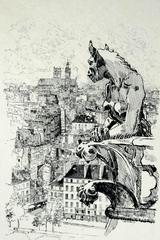 Gargoyle of Paris (after Joseph Pennell, N.A. 1857-1926)