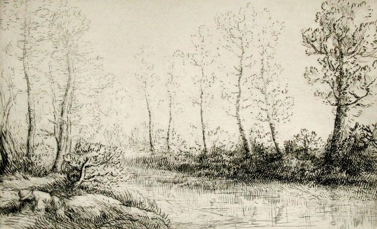 Alphonse Legros Landscape Print - Le bouleaux: bord de l'eau, effect du matin.