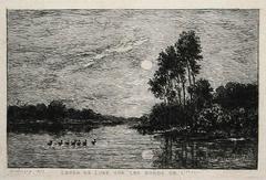 Charles François Daubigny - Moonrise along the banks of the Oise River