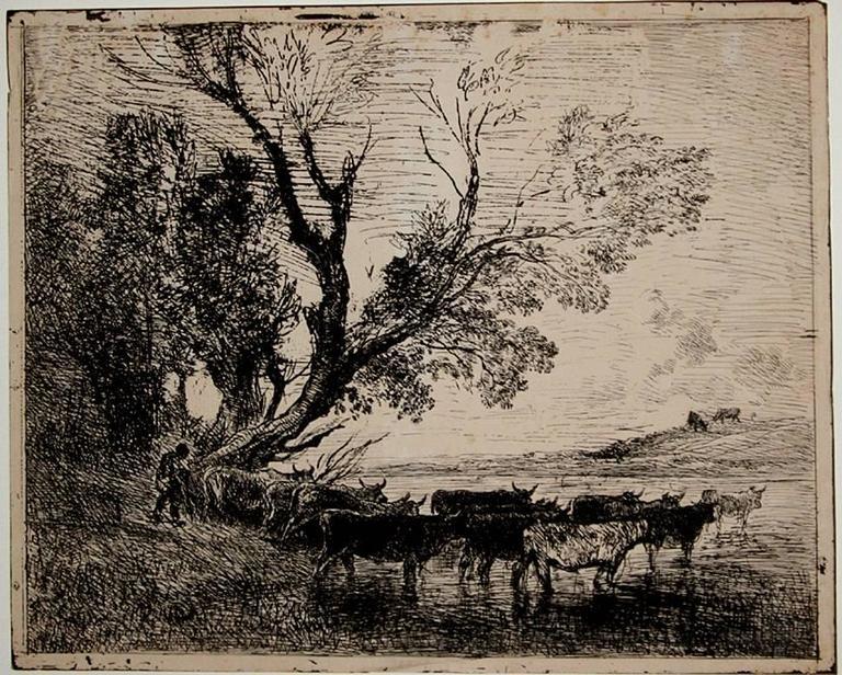 Charles François Daubigny Black and White Photograph - Le gué (The Ford).