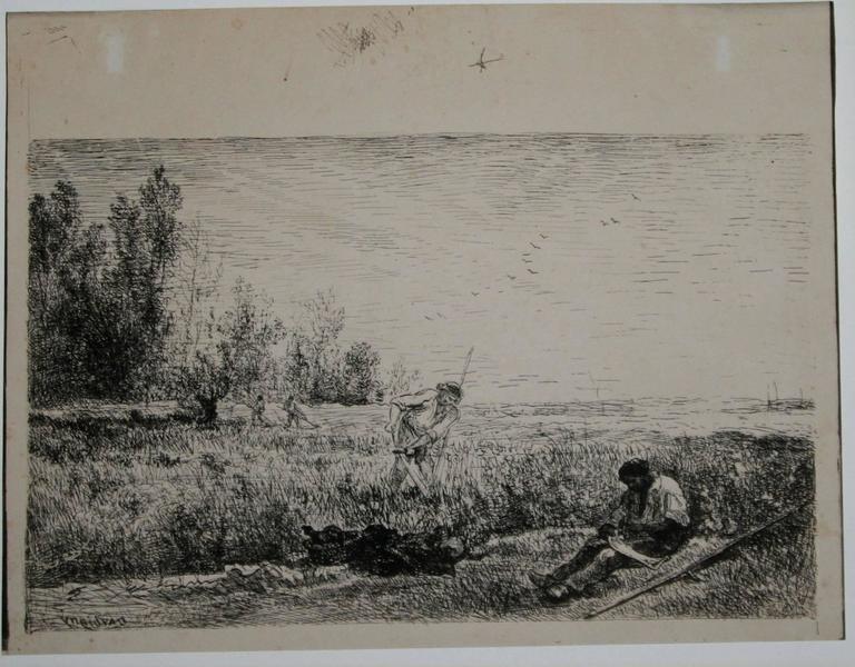 La Fenaison (The Hay Harvest).  - Print by Charles François Daubigny