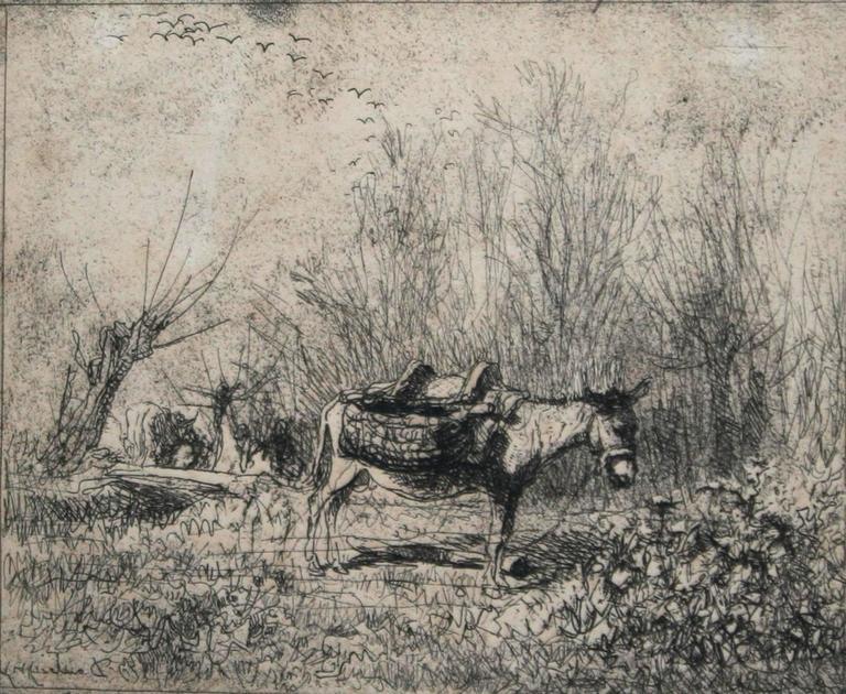Charles François Daubigny Landscape Photograph - L'âne au pré (Donkey in the Field)