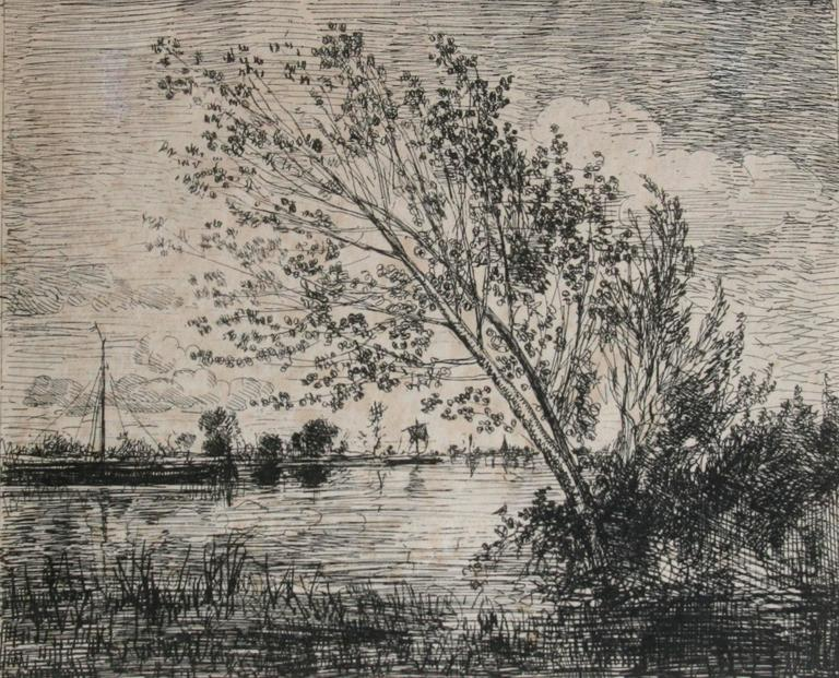 Charles François Daubigny Black and White Photograph - Le bouquet d'aunes ((The Clump of Alders)