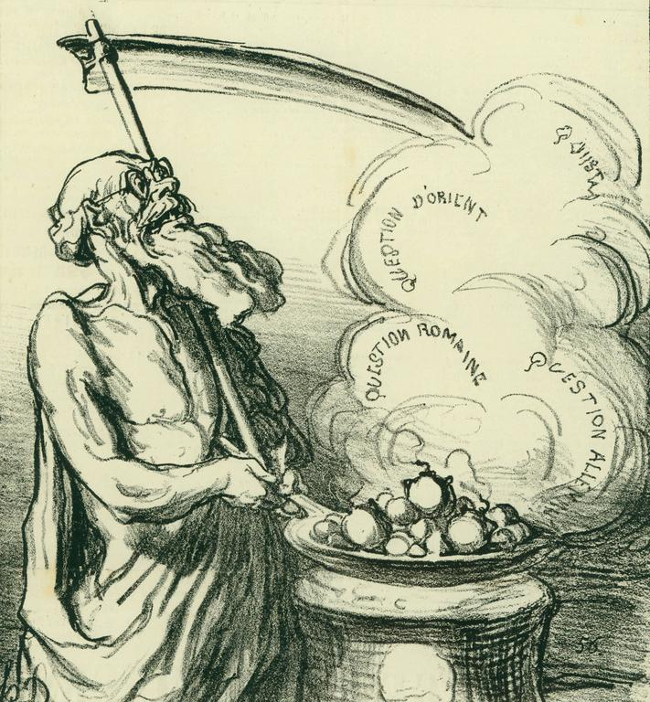 Honoré Daumier Figurative Print - (They scorch these big ones, they burn! --- Big hot ones! Hot!)