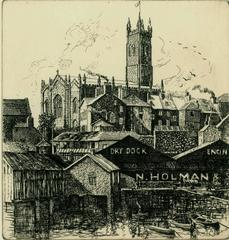 Penzance Church from the Harbour over Dry Dock.