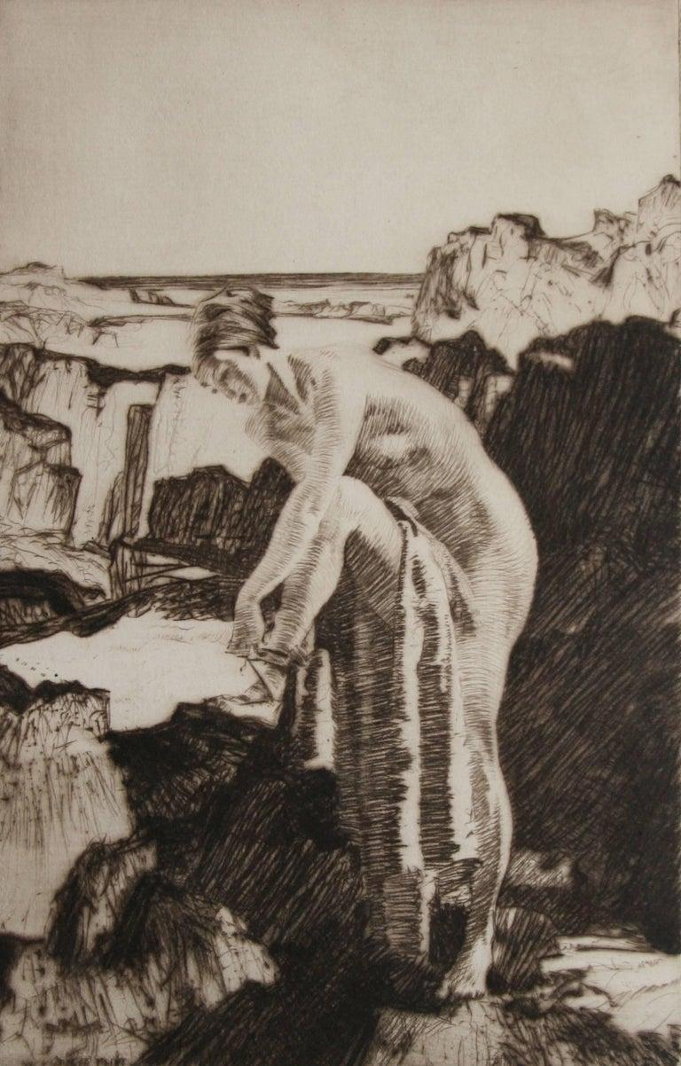 William Russell Flint Figurative Print - Celinda's Precaution