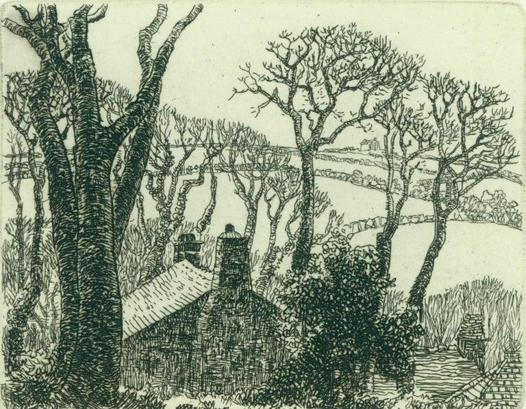 Eleanor Mary Hughes Landscape Print - Farmhouse with Fields