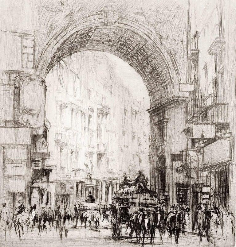 William Walcot, R.E., Hon.R.I.B.A. Figurative Print - Arc San Carlo, Naples.