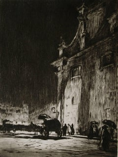Sir Muirhead Bone - Rainy Night in Rome.