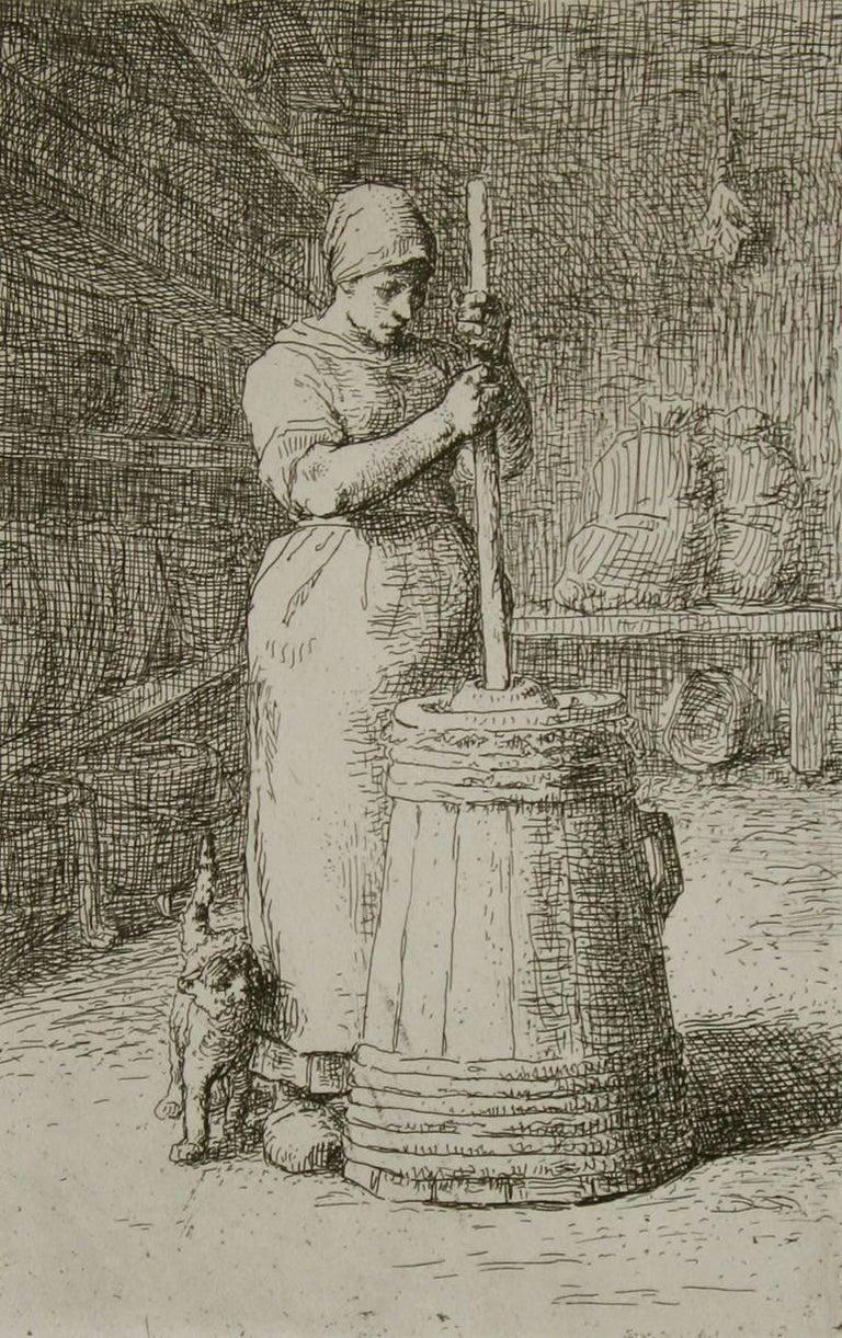 Jean François Millet Figurative Print - La Barateuse (Woman Churning).