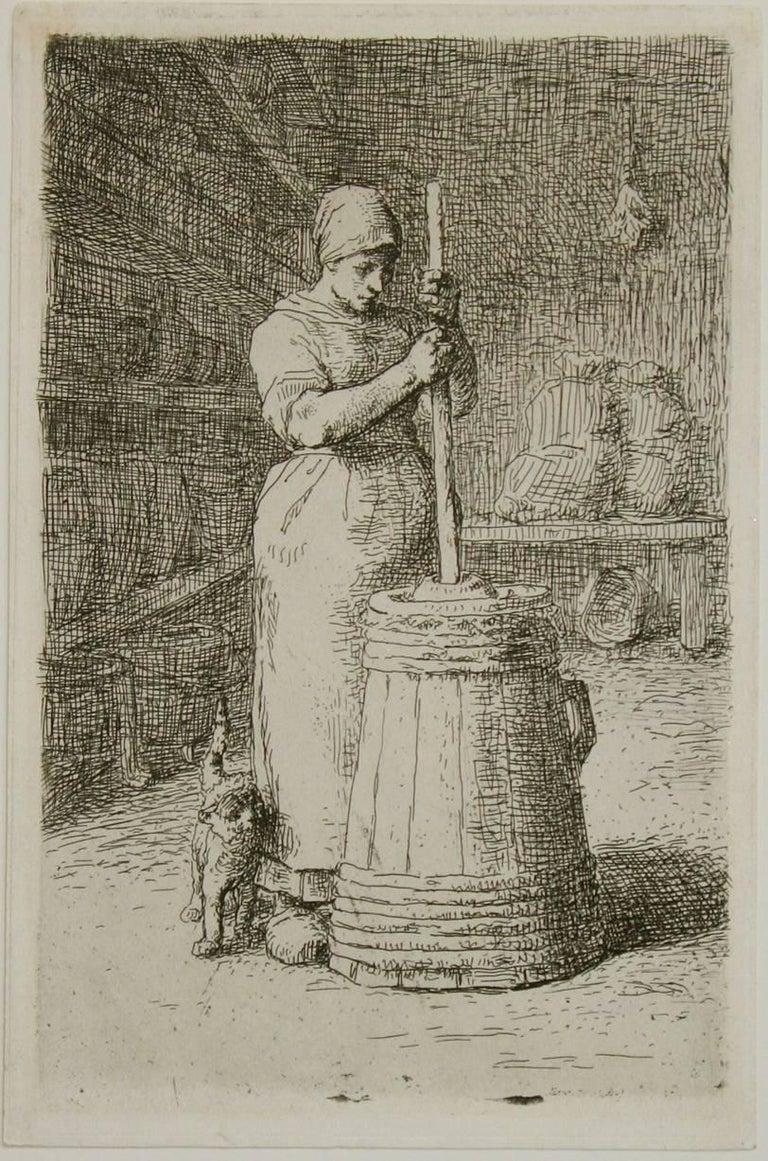 La Barateuse (Woman Churning). - Print by Jean François Millet