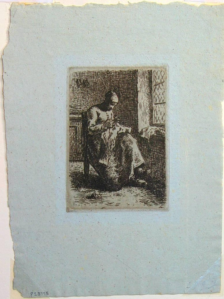 A Woman Sewing. - Print by Jean François Millet