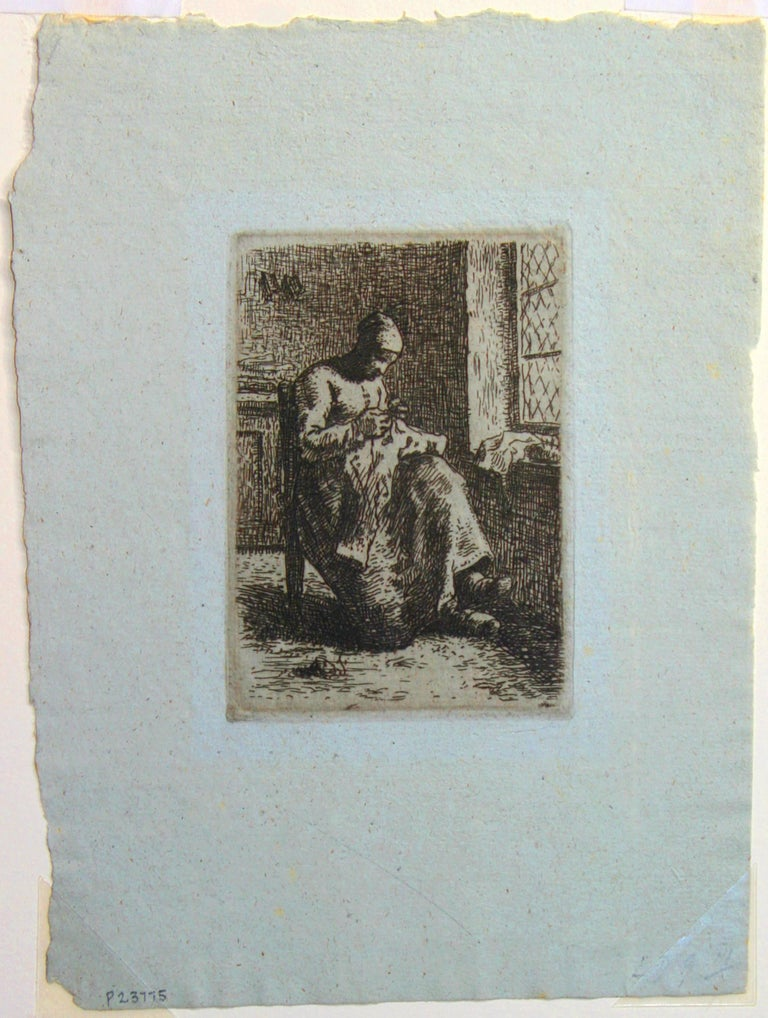 A Woman Sewing. - Barbizon School Print by Jean François Millet