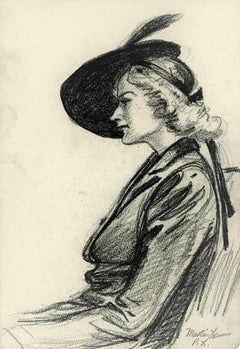 Woman Wearing a Feathered Hat